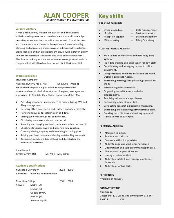 objective statement for administrative assistant resume