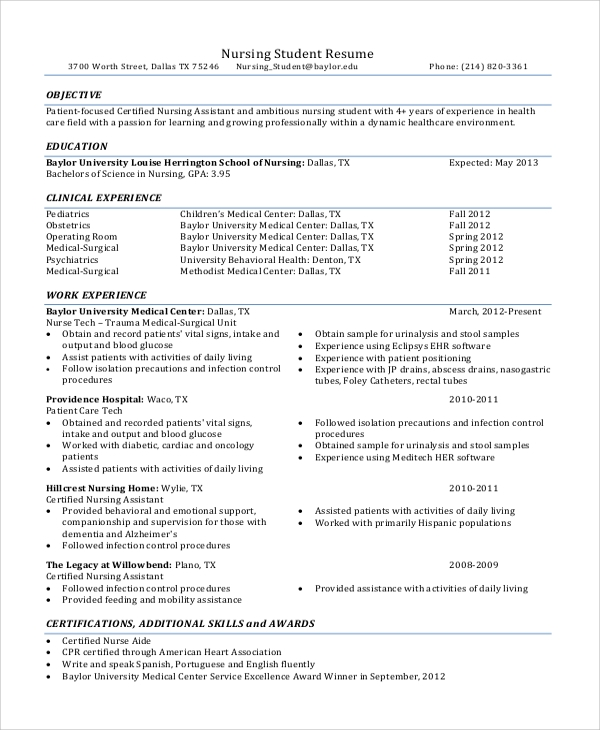 8 Objective Statement Resume Samples Sample Templates
