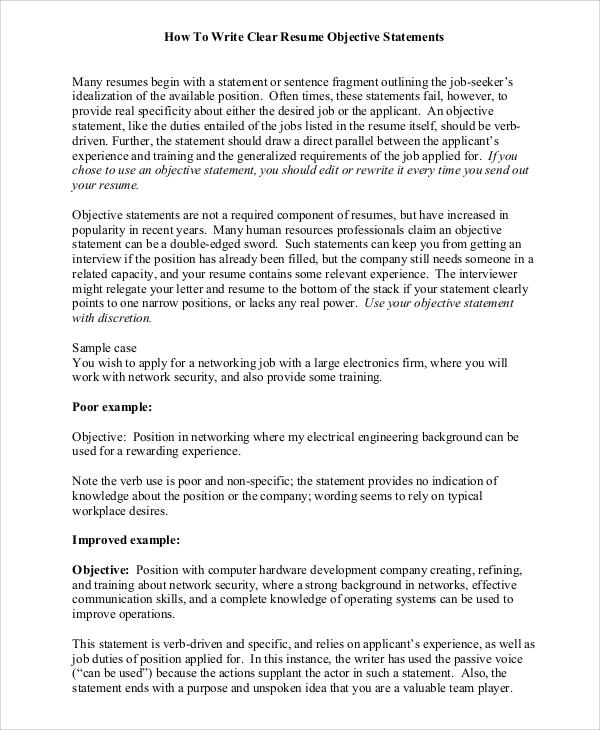 8+ Objective Statement Resume Samples  Sample Templates