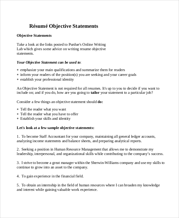 objective statement in a resumes