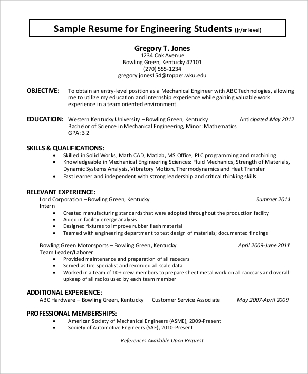sample resume objective statement for engineering student