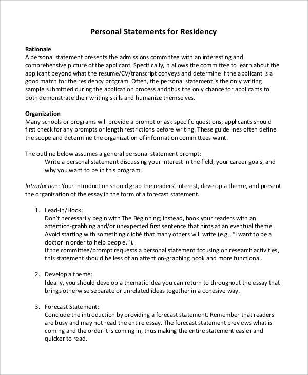 Sample Residency Personal Statement   Examples In Pdf