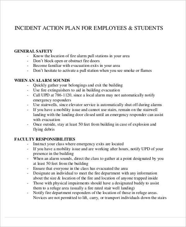 Incident Action Plan For Employee