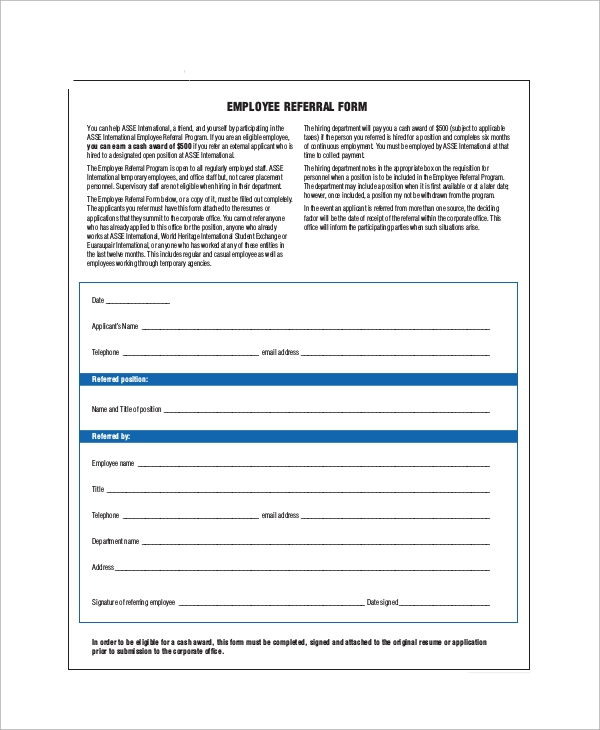Elegant Employee Referral Form