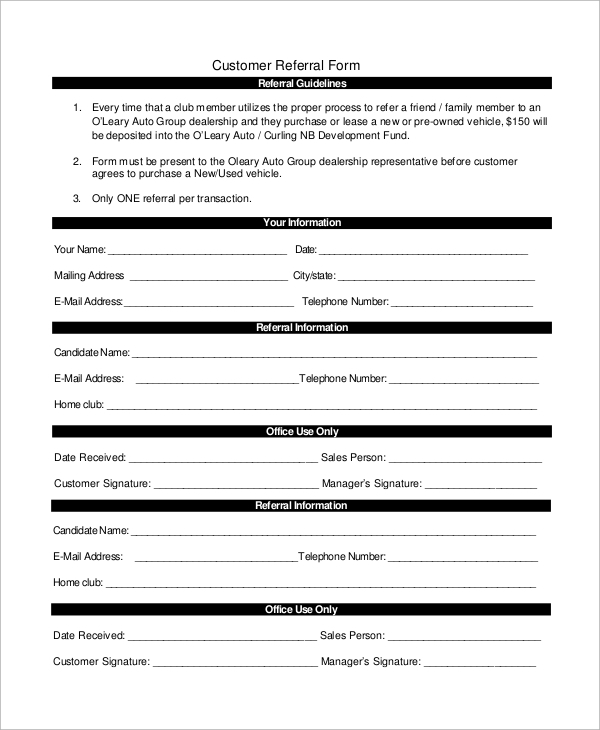 Sample Referral Form   Examples In Word Pdf