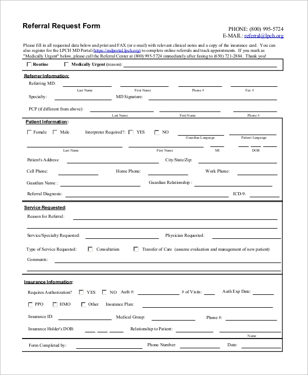 basic referral request form sample