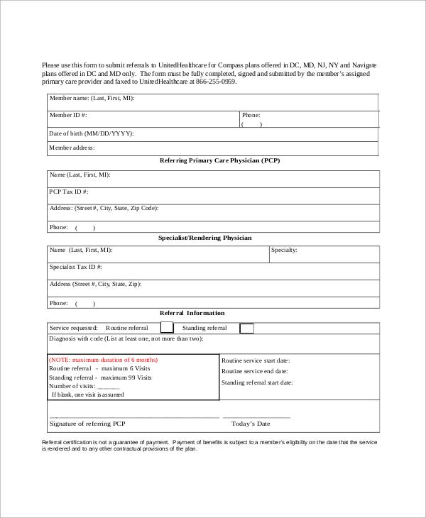 referral fax form
