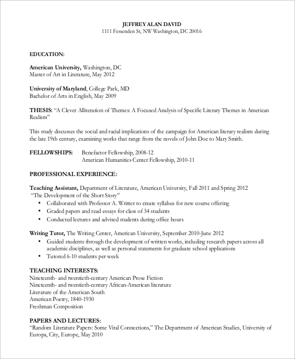 curriculum vitae for research paper