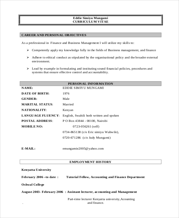 curriculum vitae for business management