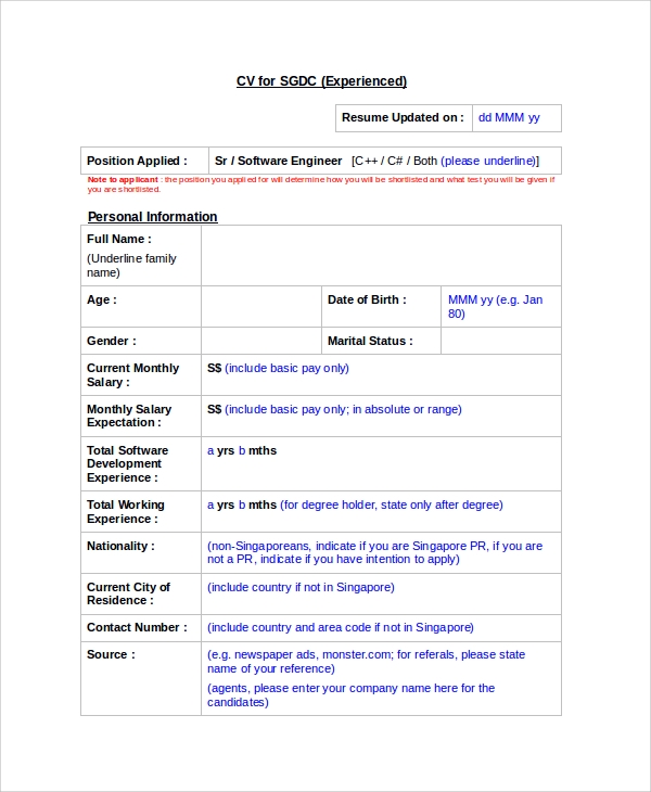 curriculum vitae for experienced engineers
