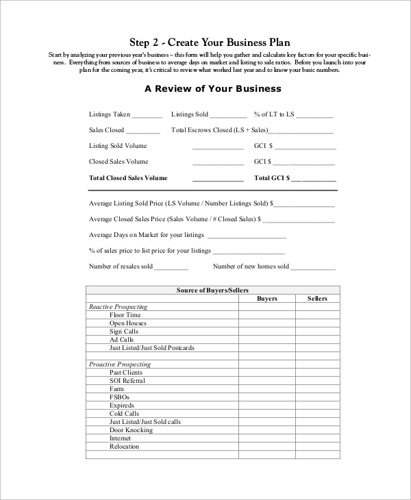 business gateway business plan template - 8 sample real estate business plans sample templates