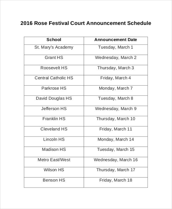 festival court announcement schedule