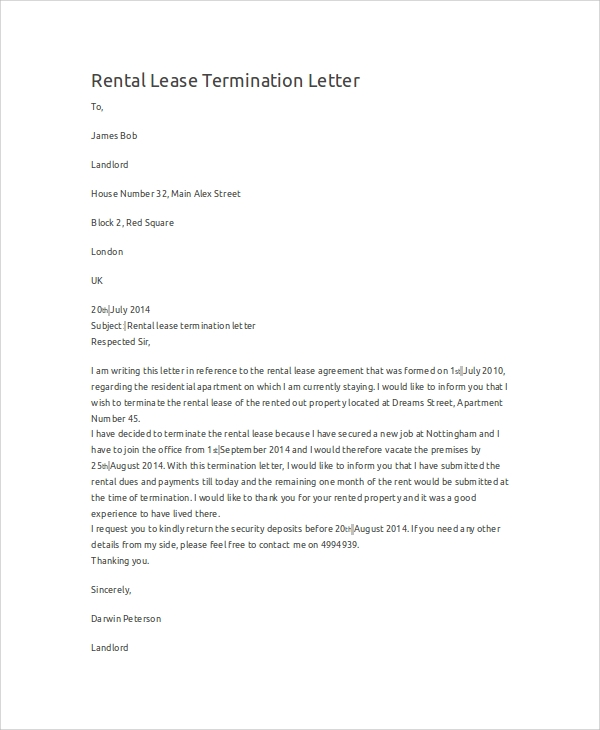 editable rental lease termination letter
