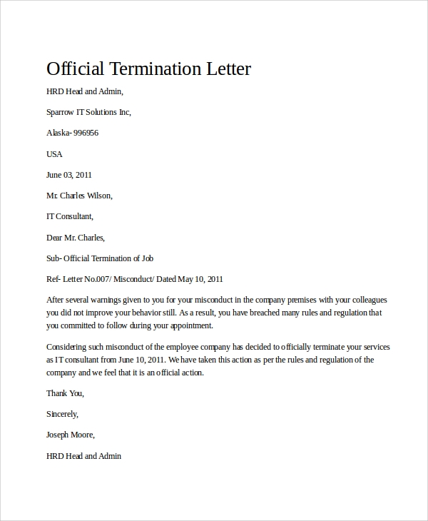 Sample Termination Letter   Examples In Word Pdf
