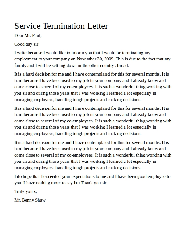 rental contract termination letters