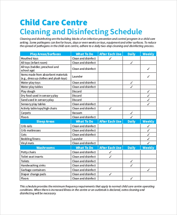 cleaning and disinfecting schedule