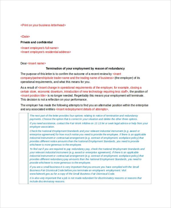 employment redundancy terminate letter