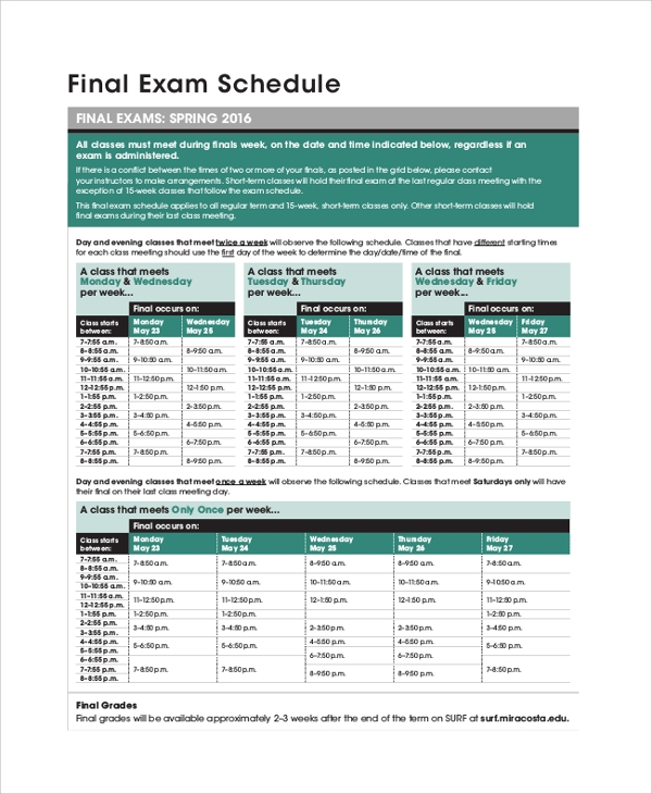 college final exam schedule