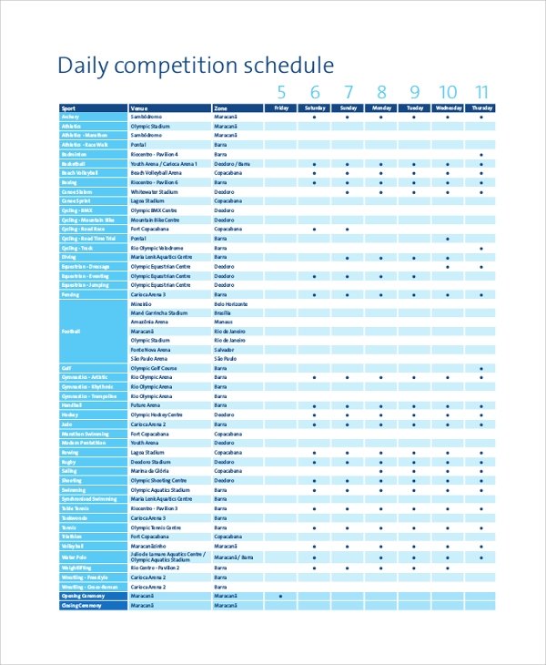daily competition schedule