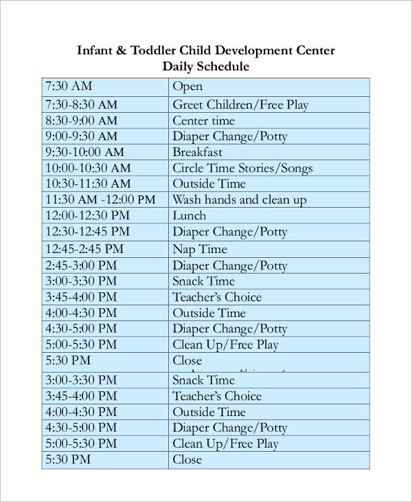 children's center daily schedule