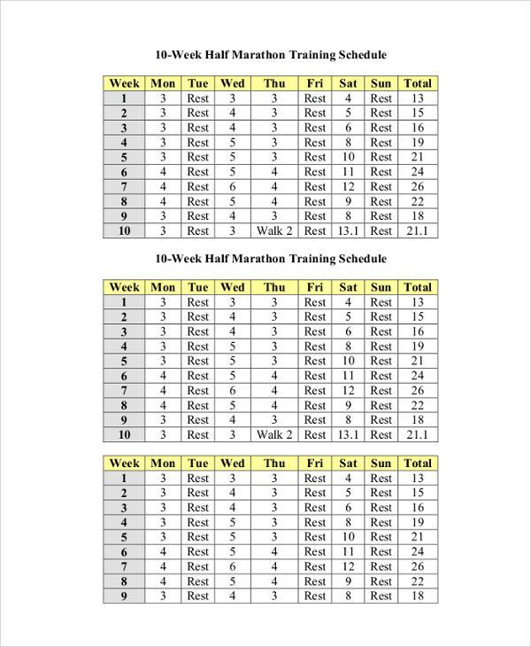 10 week half marathon training schedule