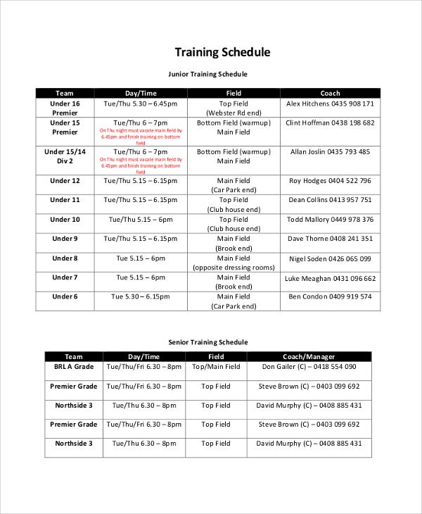 junior training schedule