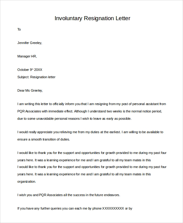 Involuntary Resignation Letter Sample