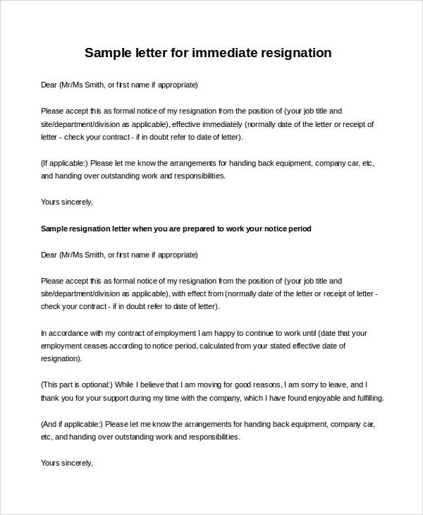 employee immediate resignation letter