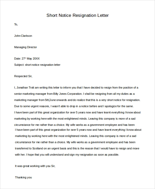 10 sample resignation letters sample templates sample short notice resignation letter in word thecheapjerseys Gallery