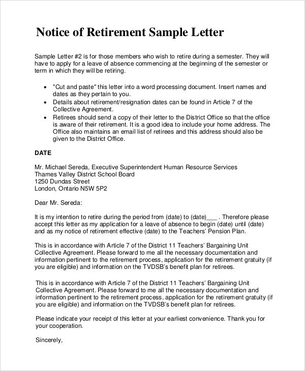 Notice-of-Retirement-Sample-Letter Notice Of Leaving Job Letter Templates on job shadow thank you letter, job offer letter format, job rejection letter, job thank you letter sample,