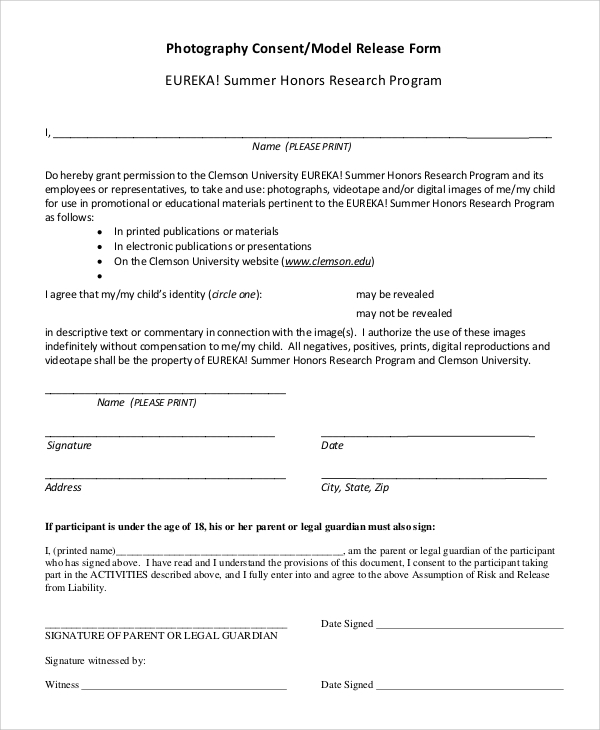 photography waiver and release form template - 10 sample photography release forms sample templates