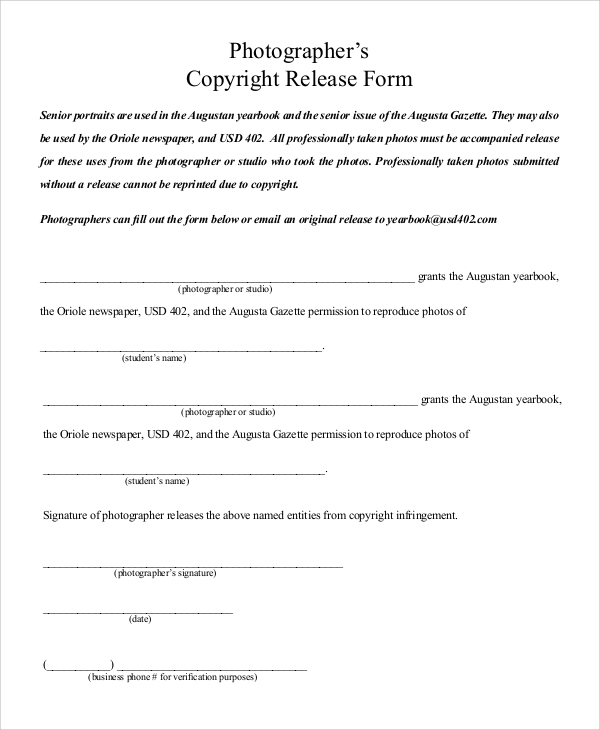 Sample Photography Release Form   Examples In Pdf Word