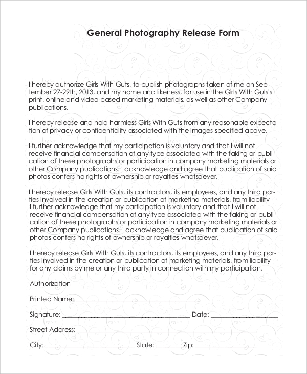 Sample Photography Release Form 10 Examples In Pdf Word