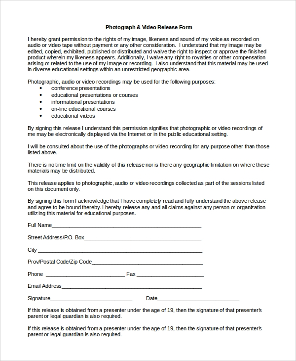 Photograph Video Release Form
