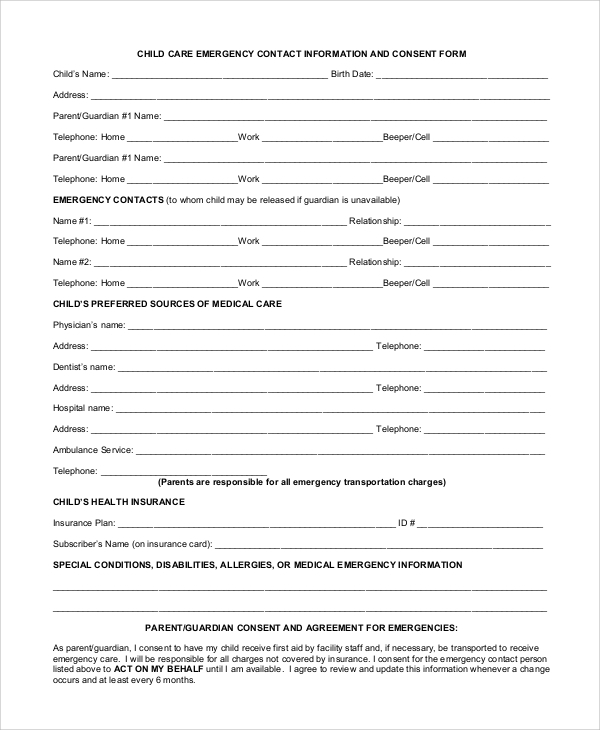 Contact Information Form Personal Emergency Contact Form Emergency