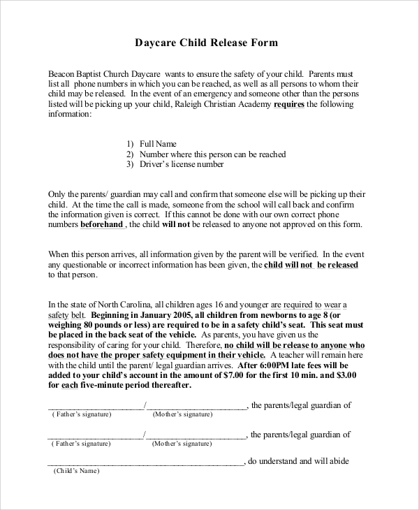 daycare child release form