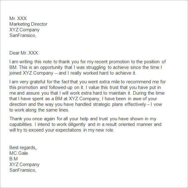 Thank You Notes To Boss Promotion Thank You Letter To Boss Sample