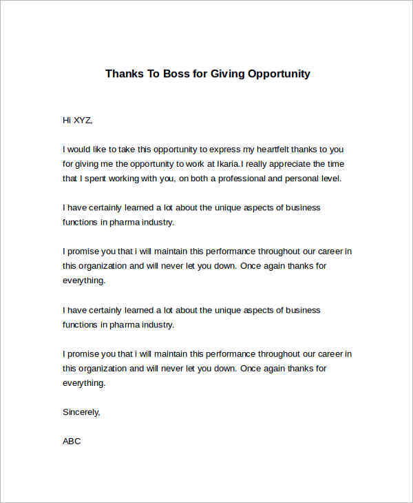 24 sample thank you letter templates to boss pdf doc for Future opportunities cover letter