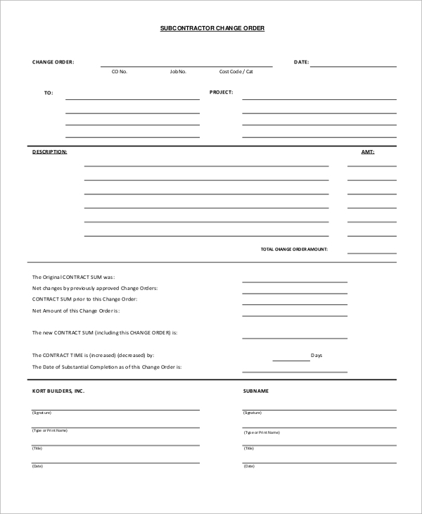 12+ Sample Change Order Forms | Sample Templates