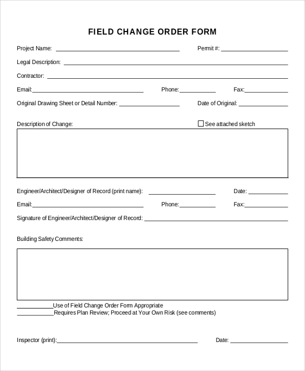 Sample Change Order Form - 10+ Examples in Word, PDF