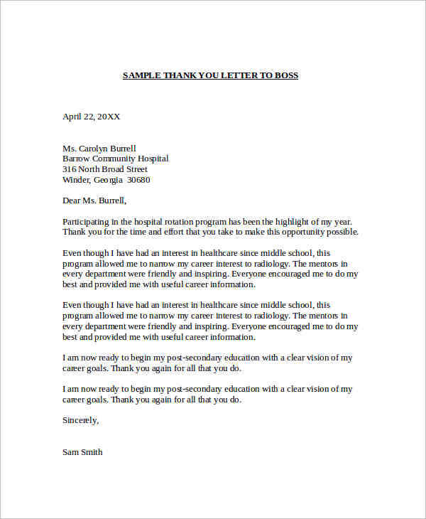 Sample Thank You Letter Templates To Boss  Pdf Doc