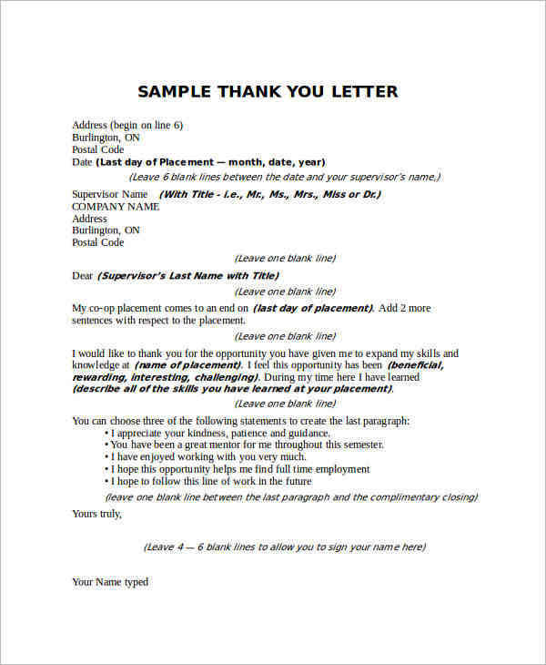Sample Thank You Letter to Boss 22 Free Documents Download in Word – Thank You Letter Samples