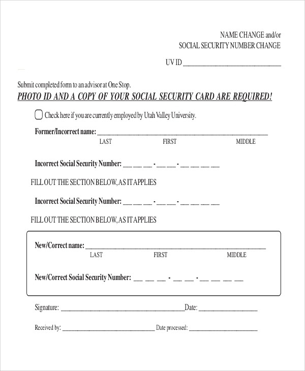 Social Security Last Name Change Form
