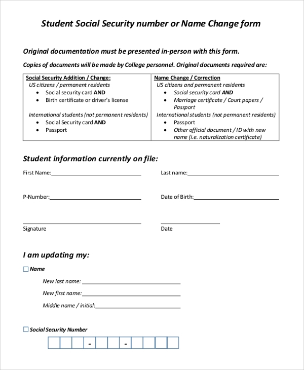 student social security number name change form