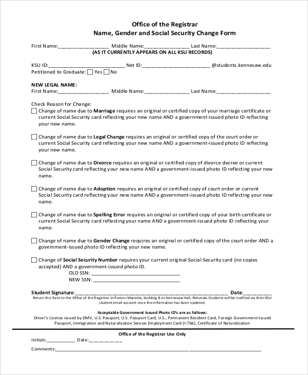 Sample Social Security Name Change Form   Examples In Pdf