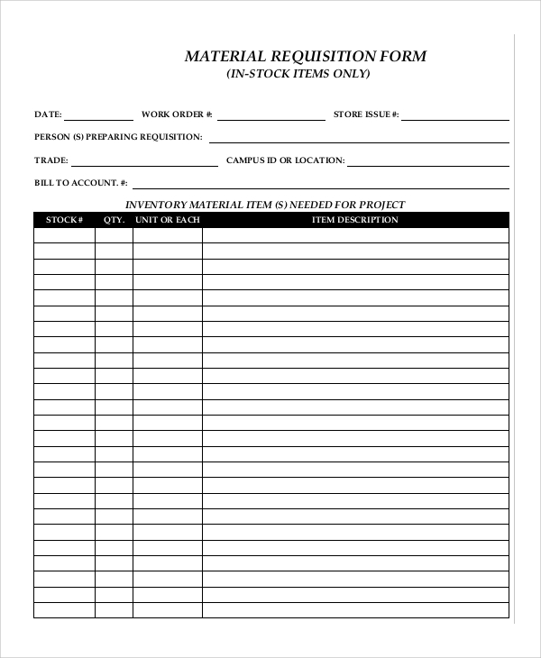 10 sample requisition forms pdf doc pages sample for Stock request form template