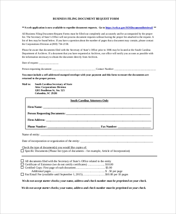 business document request form - Business Documents