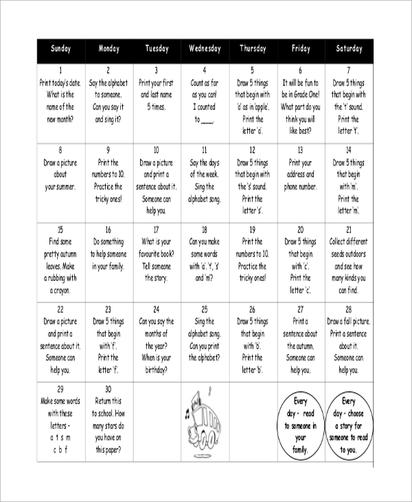 Sample Homework Calendar   Examples In Word Pdf