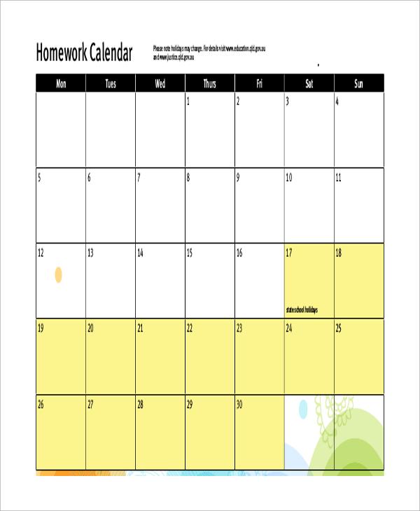 Blank Homework Calendar : Homework calendar samples sample templates