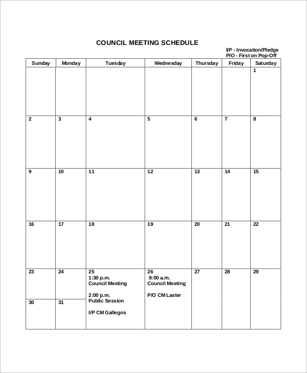 Sample Meeting Schedule - 10+ Examples In Word, Pdf